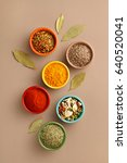 spices in colorful bowls viewed ... | Shutterstock . vector #640520041