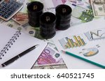 three black barrels with the... | Shutterstock . vector #640521745
