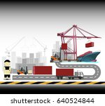 containers loading by crane  ... | Shutterstock .eps vector #640524844