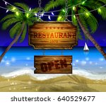 summer wooden sign on tropical... | Shutterstock .eps vector #640529677