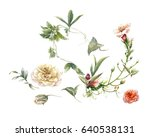 watercolor painting of leaves... | Shutterstock . vector #640538131