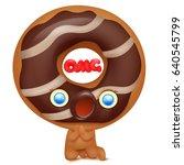 donut cartoon emoji character... | Shutterstock .eps vector #640545799