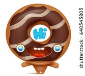 donut cartoon emoji character... | Shutterstock .eps vector #640545805