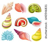 vector sea shells set.   Shutterstock .eps vector #640546831