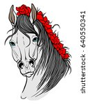 portrait of a horse with red... | Shutterstock .eps vector #640550341