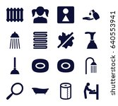 set of 16 bathroom filled icons ... | Shutterstock .eps vector #640553941