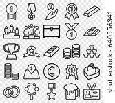 set of 25 gold outline icons... | Shutterstock .eps vector #640556341