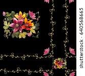 bouquet of lilies watercolor on ... | Shutterstock . vector #640568665