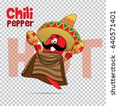 mexican chili hot pepper vector ... | Shutterstock .eps vector #640571401
