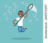 young black man trying to catch ... | Shutterstock .eps vector #640572397