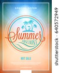 summer sale flyer or banner.... | Shutterstock .eps vector #640572949