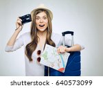 happy girl traveler holding... | Shutterstock . vector #640573099