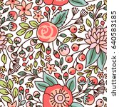 seamless floral pattern. vector ... | Shutterstock .eps vector #640583185
