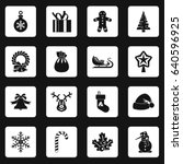 christmas icons set in white... | Shutterstock . vector #640596925