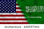 waving usa and saudi arabia... | Shutterstock . vector #640597441