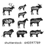 vector wild animals silhouettes.... | Shutterstock .eps vector #640597789