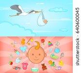 baby born banner set horizontal ...   Shutterstock . vector #640600045