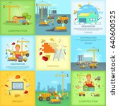 construction banner set in... | Shutterstock . vector #640600525