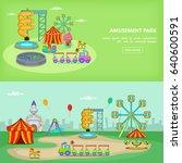 amusement park banner set... | Shutterstock . vector #640600591