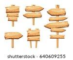 old wooden blank cartoon sign... | Shutterstock . vector #640609255