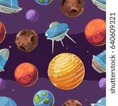 seamless space kids pattern...   Shutterstock . vector #640609321