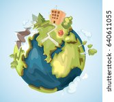 earth planet with buildings ... | Shutterstock . vector #640611055