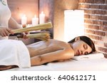 masseur makes massage to young... | Shutterstock . vector #640612171