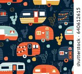 vector seamless camping pattern | Shutterstock .eps vector #640612615
