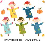 cute autumn scarecrows with... | Shutterstock .eps vector #640618471