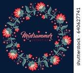 midsummer floral vintage frame  ...   Shutterstock .eps vector #640627741