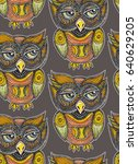 owl tribal bird pattern | Shutterstock . vector #640629205