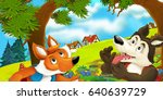 cartoon scene of a fox and a... | Shutterstock . vector #640639729