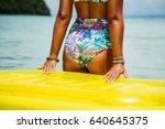 young beautiful suntanned girl... | Shutterstock . vector #640645375