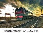 high speed passenger train ... | Shutterstock . vector #640657441