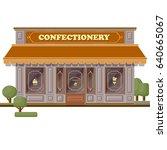confectionery shop facade. flat ... | Shutterstock .eps vector #640665067