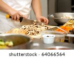 chef cutting the mushrooms on a ... | Shutterstock . vector #64066564