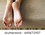 dry cracked skin of woman feet... | Shutterstock . vector #640671907