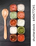 sauces selection over slate | Shutterstock . vector #640677241