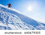 good skiing in the snowy... | Shutterstock . vector #640679305