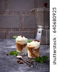 ice cream with coffee.... | Shutterstock . vector #640680925