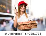 pizza delivery woman holding a... | Shutterstock . vector #640681735