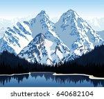 vector illustration   lake in... | Shutterstock .eps vector #640682104