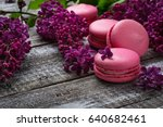 pink macaroons and lilac.... | Shutterstock . vector #640682461