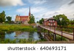 old catholic church and water... | Shutterstock . vector #640693171