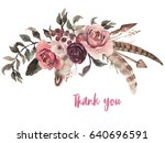 watercolor floral illustration  ... | Shutterstock . vector #640696591