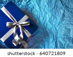 the dark blue gift box with ...   Shutterstock . vector #640721809