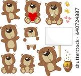 set of cute baby bears posing... | Shutterstock .eps vector #640724887