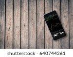 top view image of  smart phone... | Shutterstock . vector #640744261