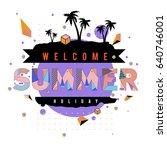 trendy vector summer cards... | Shutterstock .eps vector #640746001