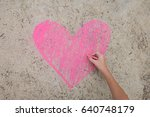 Hand Drawing Pink Heart Shape...